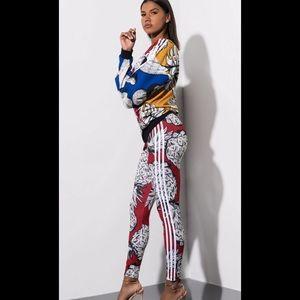 Adidas outfit set sweatshirt leggings large NWT